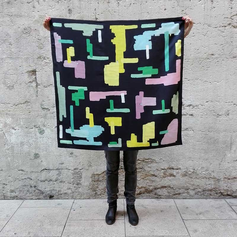 Anne-Lise Pichon - Foulard en soie Labyrinthe