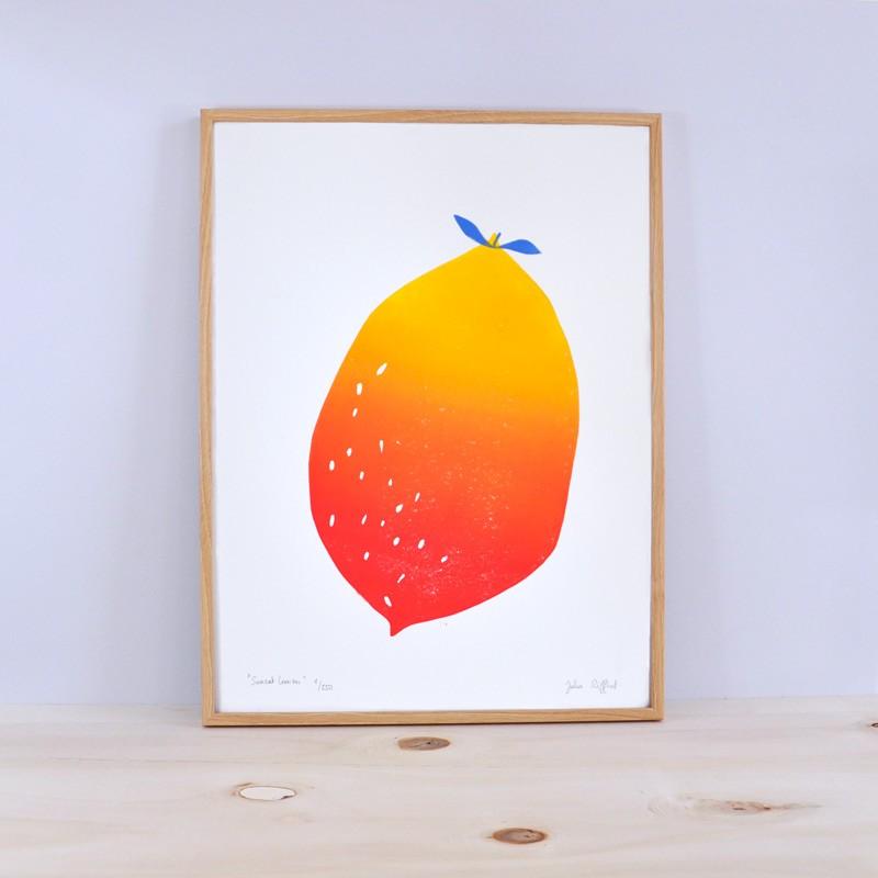 Julia Riffiod - Linogravure Sunset Lemon